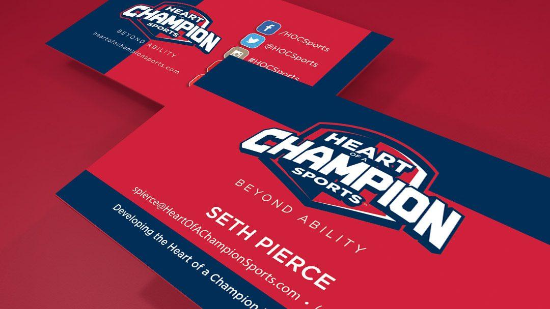 Heart of a champion sports business card design redlogic heart of a champion sports business card design colourmoves